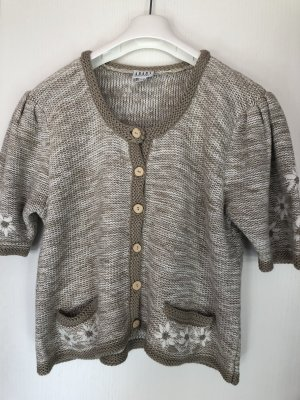 Apart Short Sleeve Knitted Jacket oatmeal-natural white