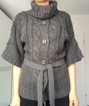 Strickjacke in dunkelgrau/grün