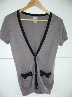 Strickjacke Kurzärmel schwarze Details Fronttaschen mit schönen Schleifen XS 34