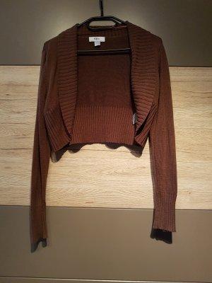 b.p.c. Bonprix Collection Knitted Bolero dark brown-brown cotton