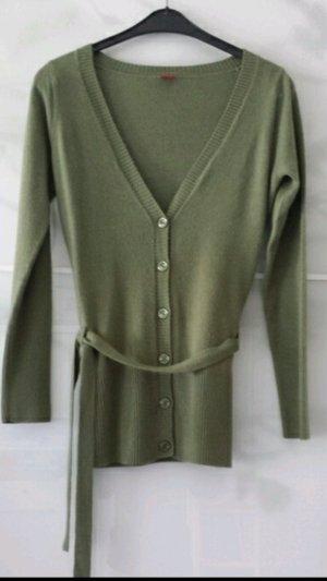 Strickjacke lang Manguun khaki Cardigan Wolle 38 *super