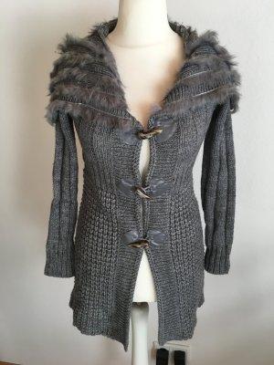 Strickjacke lang Pullover Strickmantel warm Winter grau