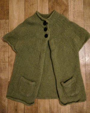 Giacca in maglia grigio-verde-verde oliva Lana