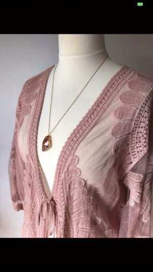 Made in Italy Cardigan all'uncinetto color oro rosa