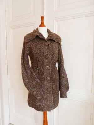Veste tricotée en grosses mailles crème-brun laine