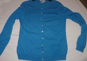 Strickjacke mit Cashmere azurblau