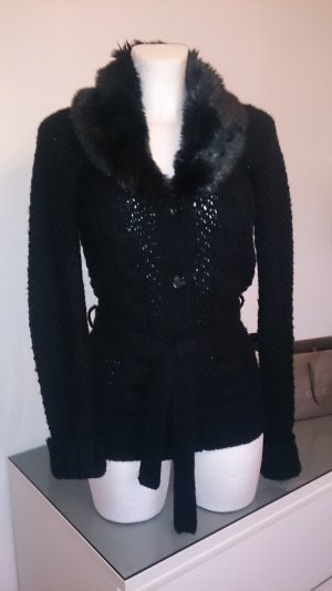 Strickjacke mit Fake Fur Kragen