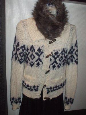 Strickjacke mit Fake-Fur-Kragen * Alpaca * Boho * Ethno * Hippie