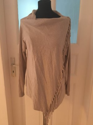 Strickjacke mit Fransen in beige