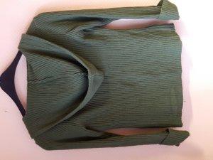 Strickjacke mit Kapuze in Khaki