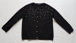 Strickjacke mit Perlen, schwarz, Gr. M