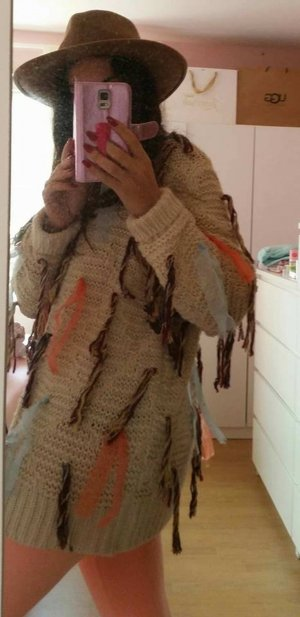 Strickjacke Pullover Strick beige orange hippie vintage blogger hipster boho NEU