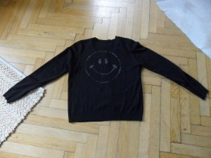 Strickjacke schwarz mit Strass Smiley in kupfer,Gr.XL,40/42