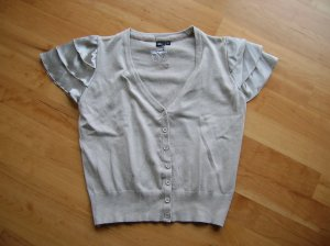 Short Sleeve Knitted Jacket light grey mixture fibre