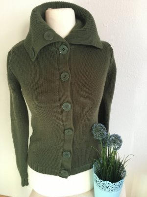 Strickjacke Strick pulli grün warm Cardigan Gr. S