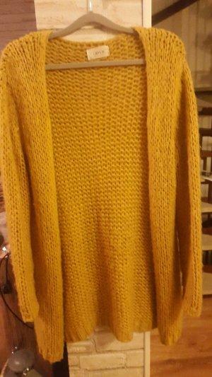 Strickjacke Strickcardigan Grobstrickjacke senfgelb dark yellow Gr. L