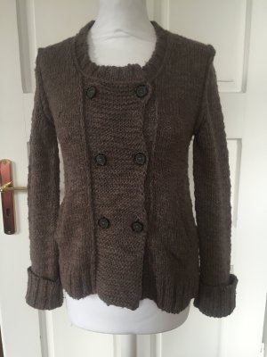 Closed Coarse Knitted Jacket grey brown-light brown alpaca wool