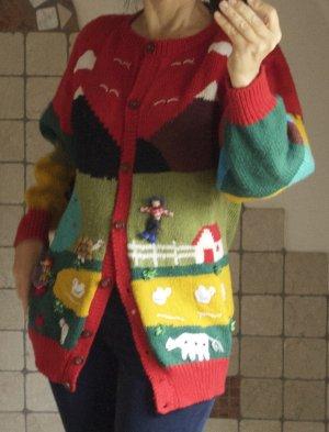 Vintage Cardigan a maglia grossa multicolore Lana