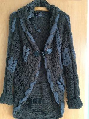 Desigual Veste tricotée en grosses mailles gris foncé