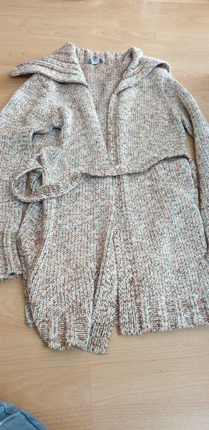 Marc Aurel Veste tricotée en grosses mailles crème-chameau