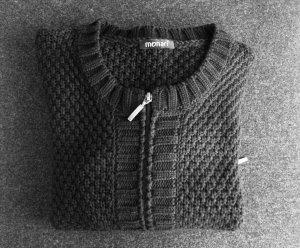 Monari Grof gebreid vest zwart Katoen