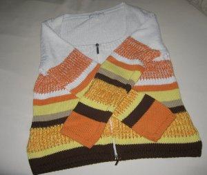 Strickjacke,  weiß/bunt mit Reißverschluss, Baumwolle/Mischgewebe