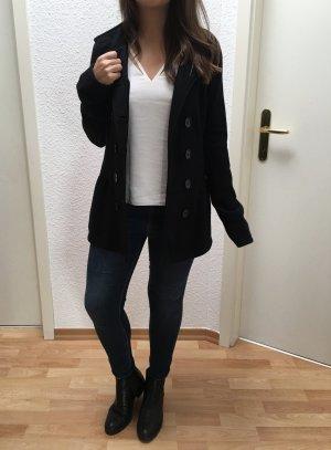 Strickjacke Wollmantel mit Doppelknöpfen in schwarz von Amisu in Größe 36