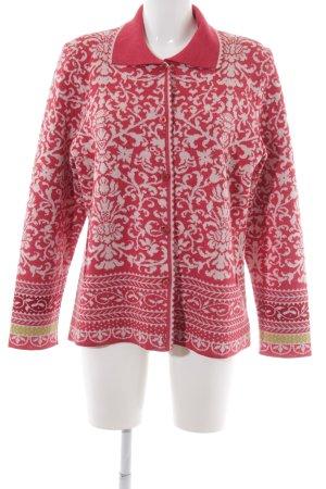 Veste en tricot blanc cassé-rouge clair motif floral style décontracté