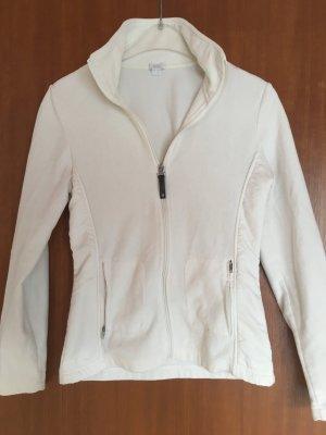 Strickjacke Zipper Pullover warm weiß Fleecejacke Gr. S
