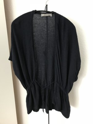 Zara Short Sleeve Knitted Jacket dark blue angora wool