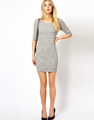 Vila Knitted Dress silver-colored