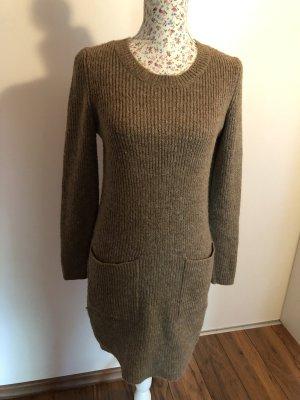 Robe en maille tricotées marron clair-gris brun tissu mixte