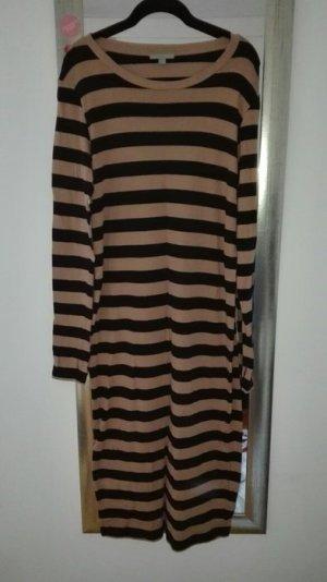Strickkleid COS Wolle Stripes gestreift beige braun schwarz Midi