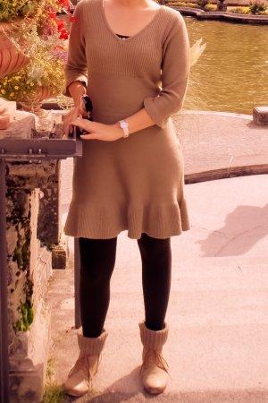 Strickkleid Herbstkleid beige braun