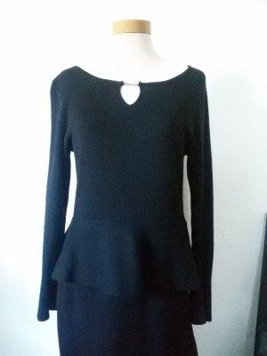 Comma Peplum jurk zwart Gemengd weefsel