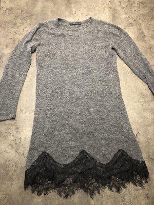 Zara Wollen jurk zwart-grijs