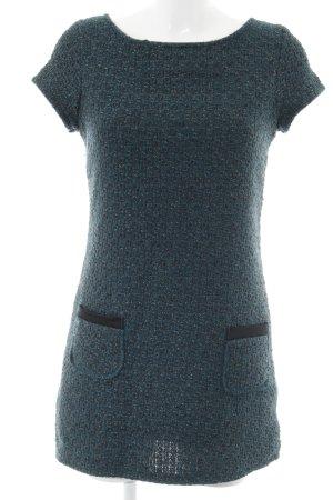 Gebreide jurk petrol-antraciet gestippeld casual uitstraling