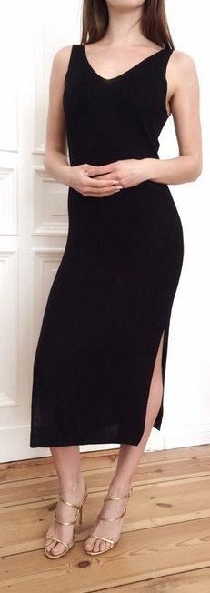 Strickkleid schwarz Midikleid Midi sexy Abendkleid XS 34 NEU