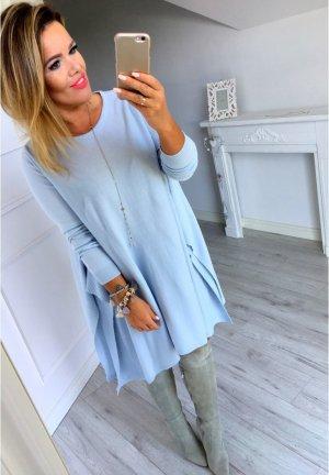 Strickkleid Strickpullover Stiefelkleid Longpullover Pullover fledermausärmel babyblau passt bei M-XL