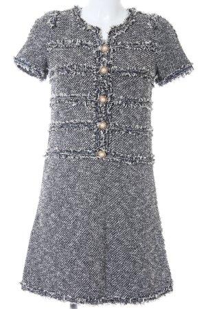 Strickkleid weiß-schwarz Webmuster Elegant