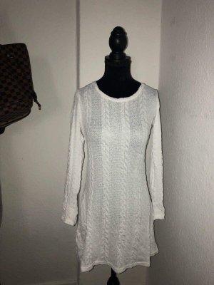 Zara Robe en maille tricotées blanc-blanc cassé