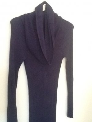 H&M Robe en maille tricotées bleu foncé viscose