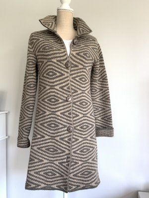 Cocogio Knitted Coat dark grey-oatmeal mixture fibre