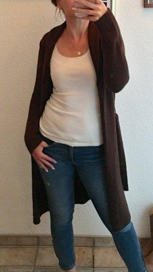 Abrigo de punto marrón oscuro