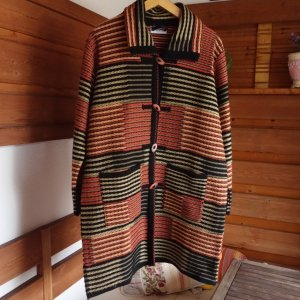 Vintage Knitted Coat russet-black polyacrylic