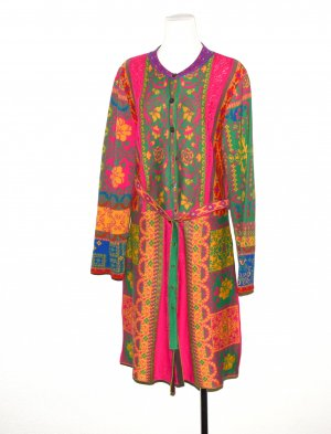 Made in Italy Knitted Coat multicolored cotton