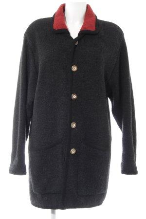 Knitted Coat black-dark red casual look