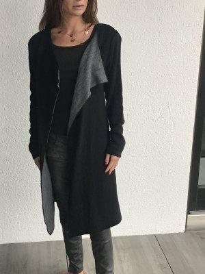 Strickmantel schwarz/ grau