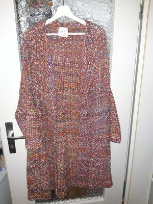 Zara Knitted Coat brick red-dark blue
