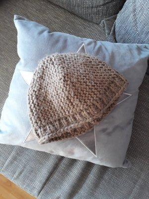 Chapeau en tricot gris brun tissu mixte